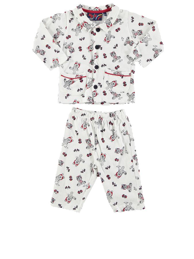 Knot so bad Pyjama ´´Bears Racing´´ in Offweiß -72 Größe 68 Pyjamas