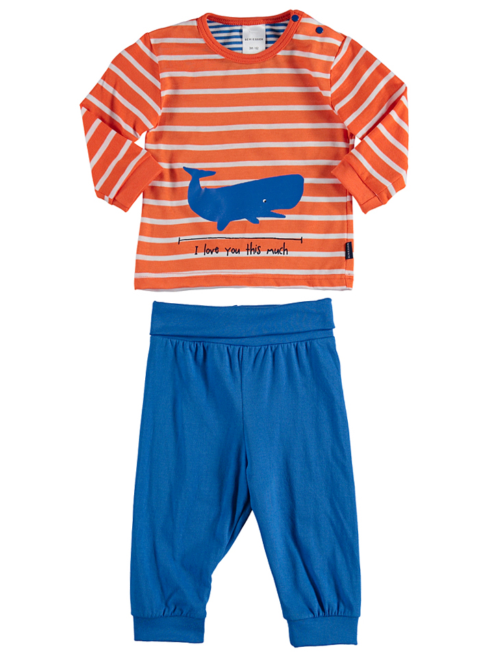 Schiesser Pyjama in orange -62 Größe 68 Pyjamas