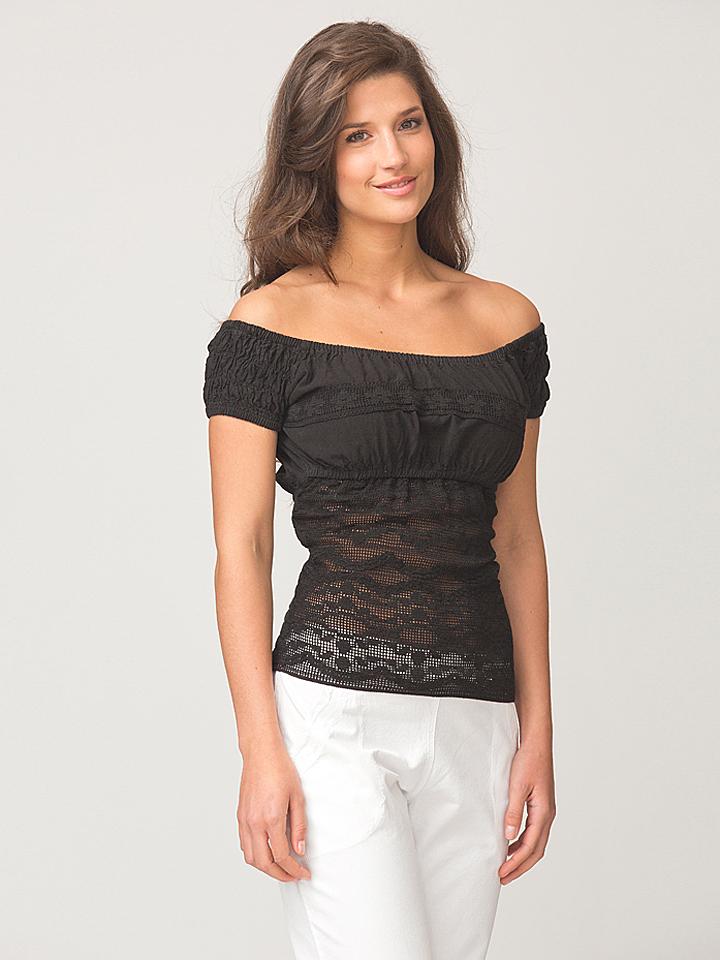LA COTONNIERE Shirt ´´Romina´´ in Schwarz -61% | Größe XS Kurzarm Tops Sale Angebote Türkendorf