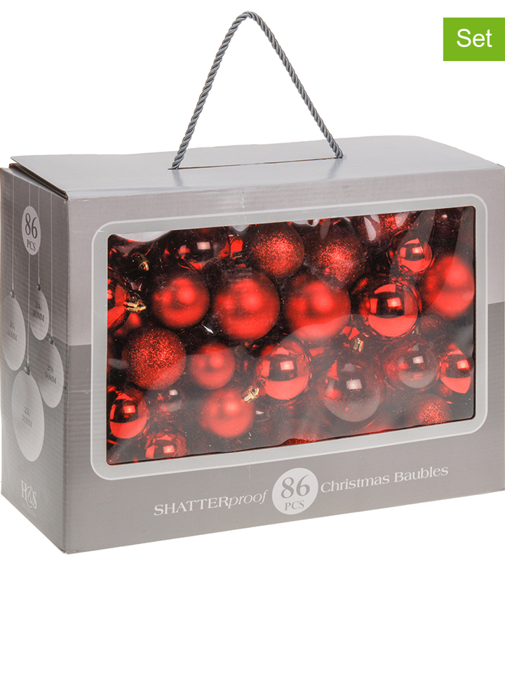 - 86er-Set: Weihnachtskugeln in Rot - 47% | Wei...