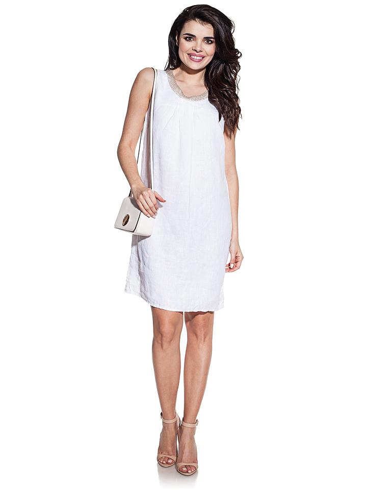 COSMO Leinen-Kleid in Weiß -57% | Größe XL/XXL Kurze Kleider Sale Angebote Guhrow
