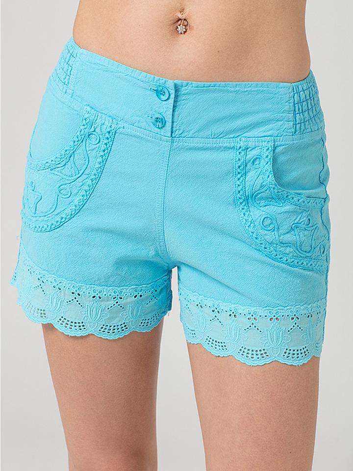 LA COTONNIERE Shorts ´´Yuri´´ in Türkis - 59% | Größe XXL Damenhosen