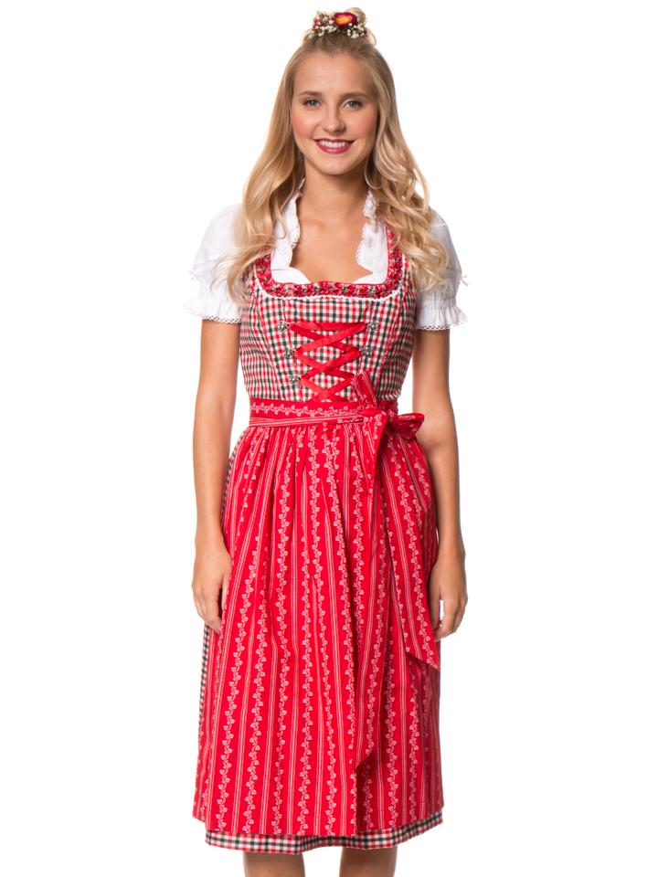 Lekra Midi-Dirndl ´´Agnes´´ in Rot/ Oliv -30% | Größe 46 Dirndl Sale Angebote Terpe