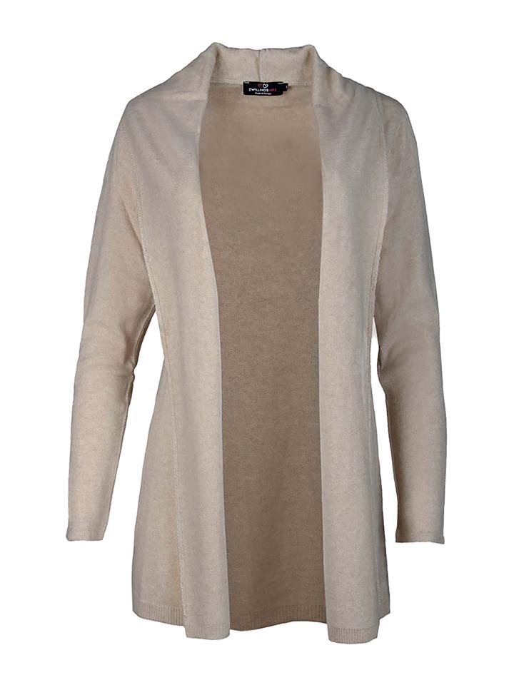 Zwillingsherz Cardigan ´´Lucky´´ in Beige - 37% | Größe L Damen pullover