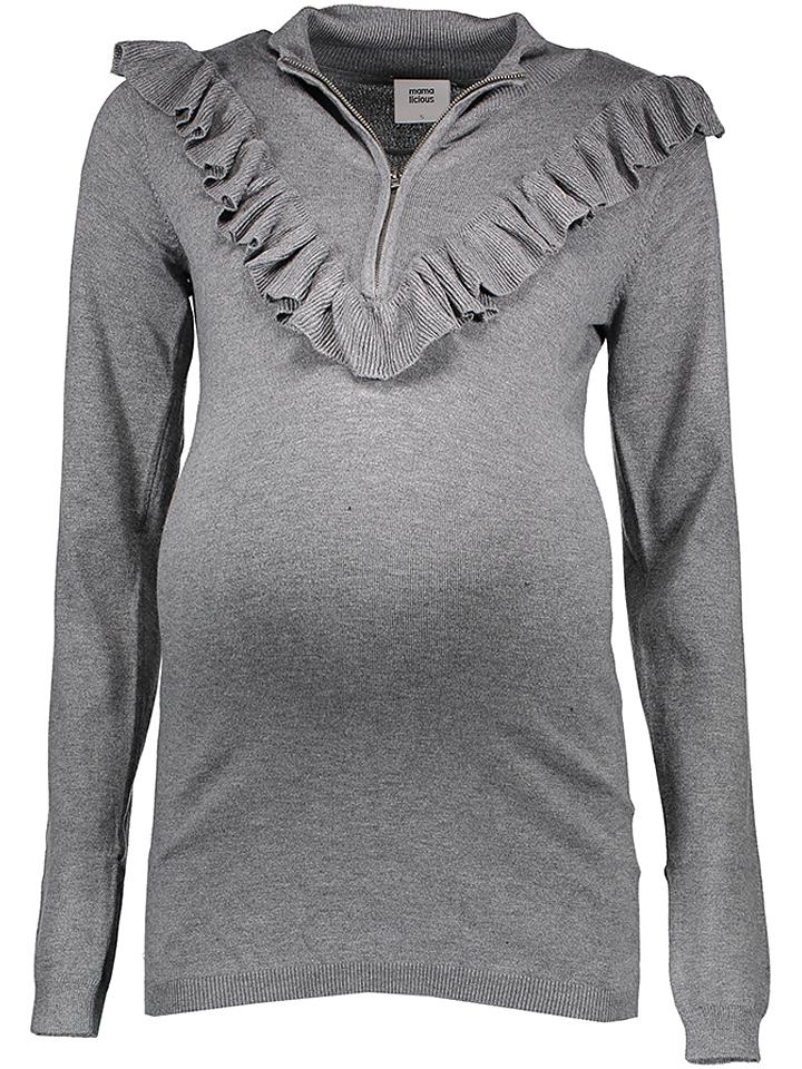 Mama licious Pullover in Grau - 41 Größe L Damen pullover