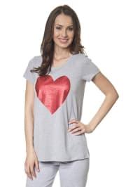 Louis & Louisa T-Shirt mit Glitzerherz in grau