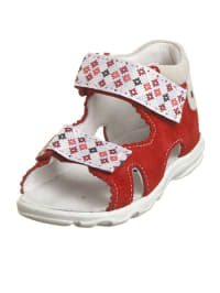 Richter Shoes Leder-Sandalen in rot/ weiß