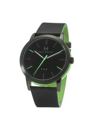 """Van Maar Unisex-Quarzuhr """"Walker"""" in schwarz/ grün"""