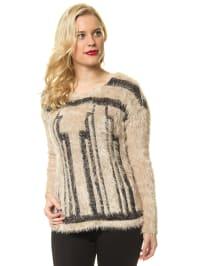 Vero Moda Pullover in Creme/ Schwarz