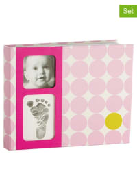 Corexa 4tlg. Stempelset mit Fotalbum in Rosa/ Creme - (B)29 x (H)24 x (T)3 cm