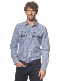 Luis Trenker Hemd in blau/ weiß