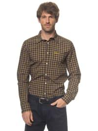 Luis Trenker Hemd in braun/ gelb