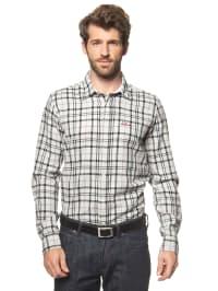 Luis Trenker Hemd in grau/ weiß
