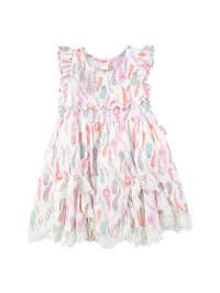 Pampolina Kleid in weiß/ lila/ bunt