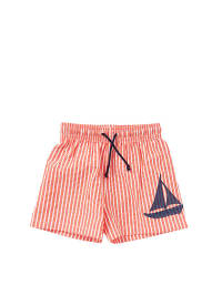 Plui Plui Badeshorts in Apricot/ Weiß