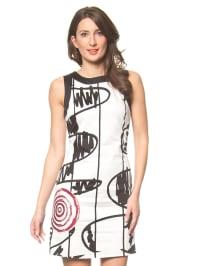 Desigual Kleid in Creme/ Schwarz/ Rot