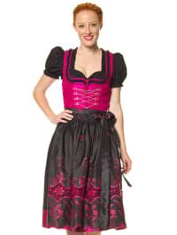 Turi Landhaus Midi-Dirndl in pink/ schwarz