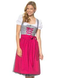 Berwin und Wolff Midi-Dirndl in grau/ pink