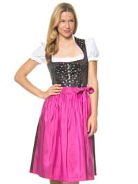 Berwin und Wolff Midi-Dirndl in schwarz/ pink