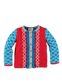 Dutch Bakery Cardigan in Rot/ Hellblau