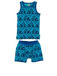 Småfolk 2tlg. Unterwäsche-Set: Hemdchen und Pants in türkis/ blau