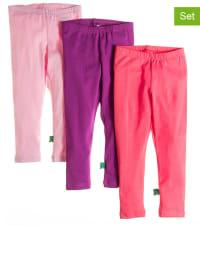Green Cotton 3er-Set: Leggings in Pink/ Lila/ Rosa