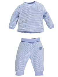 Gelati Outfit: Pullover und Hose in Blau/ Weiß