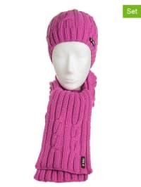 Döll 2tlg. Set: Mütze und Schal in Pink
