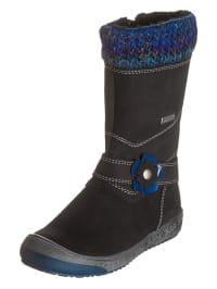Richter Shoes Leder-Stiefel in Anthrazit/ Blau
