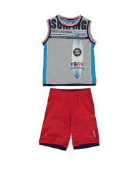 Geox 2tlg. Outfit: Tanktop und Shorts in Rot/ Grau