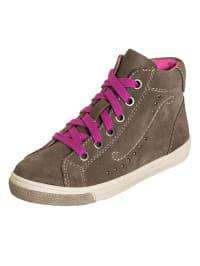 Indigo Leder-Sneakers in Hellbraun/ Pink