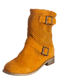 Andrea Conti Leder-Stiefeletten in Orange