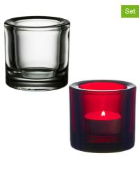 "Iittala 2er-Set: Windlichter ""Kivi"" in Rot"
