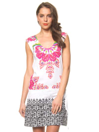 """Desigual Kleid """"Loli"""" in Weiß/ Pink/ Schwarz"""