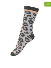 Melton 3er-Set Socken in Grau/ Schwarz
