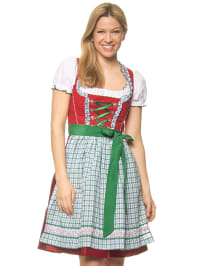 "Wiesnkönig Midi-Dirndl mit Bluse ""Viola"" in Rot/ Hellblau/ Grün"