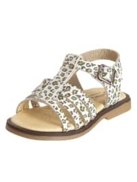 Billowy Leder-Sandalen in Weiß/ Khaki
