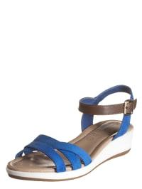 "Swissies Leder-Sandalen ""Marbella"" in Blau/ Braun/ Weiß"