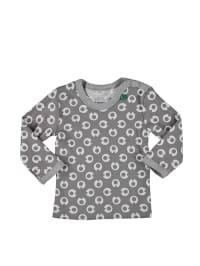 Green Cotton Longsleeve in Grau/ Weiß