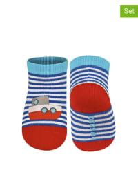 SOXO 2er-Set: Socken in Hellblau/ Dunkelblau/ Rot