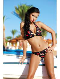 Meriell Bikini in Beige/ Schwarz/ Rot