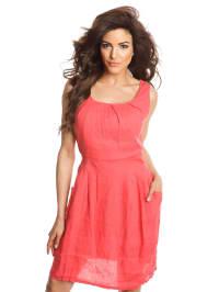 100% Linen Leinen-Kleid in Koralle