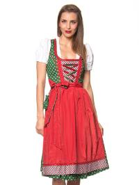 "LEKRA Midi-Dirndl ""Hannelore"" in Grün/ Rot"