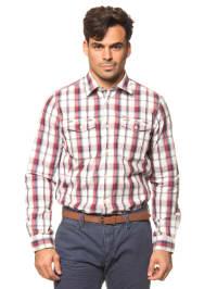 Tom Tailor Hemd in Weiß/ Rot/ Dunkelblau