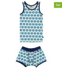 Småfolk 2tlg. Unterwäsche-Set in Creme/ Blau