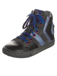 Romagnoli Leder-Sneakers in Schwarz/ Blau