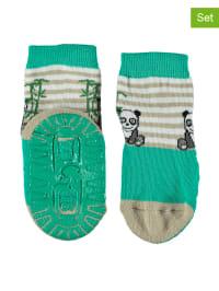 Sterntaler 2er-Set: Anti-Rutsch-Socken in Beige/ Grün