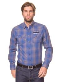 Twinlife Hemd in Blau/ Taupe