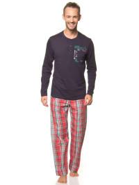 Jockey Pyjama in Dunkelblau/ Rot/ Grün