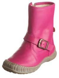 POM POM Leder-Boots in Pink